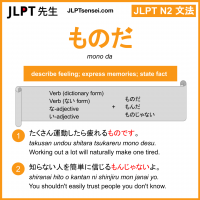 mono da ものだ jlpt n2 grammar meaning 文法 例文 learn japanese flashcards