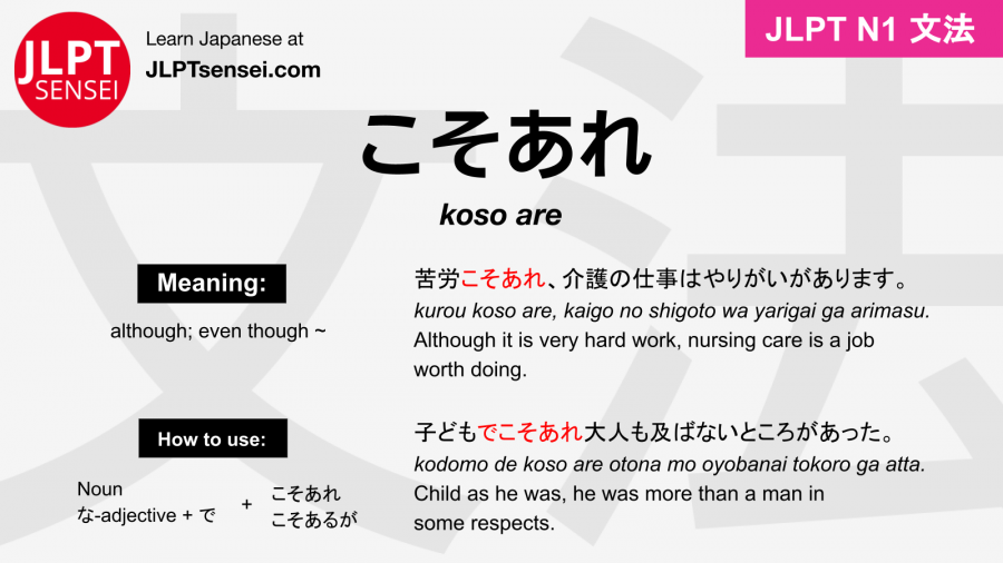 koso are こそあれ jlpt n1 grammar meaning 文法 例文 japanese flashcards