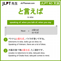 to ieba と言えば といえば jlpt n3 grammar meaning 文法 例文 learn japanese flashcards