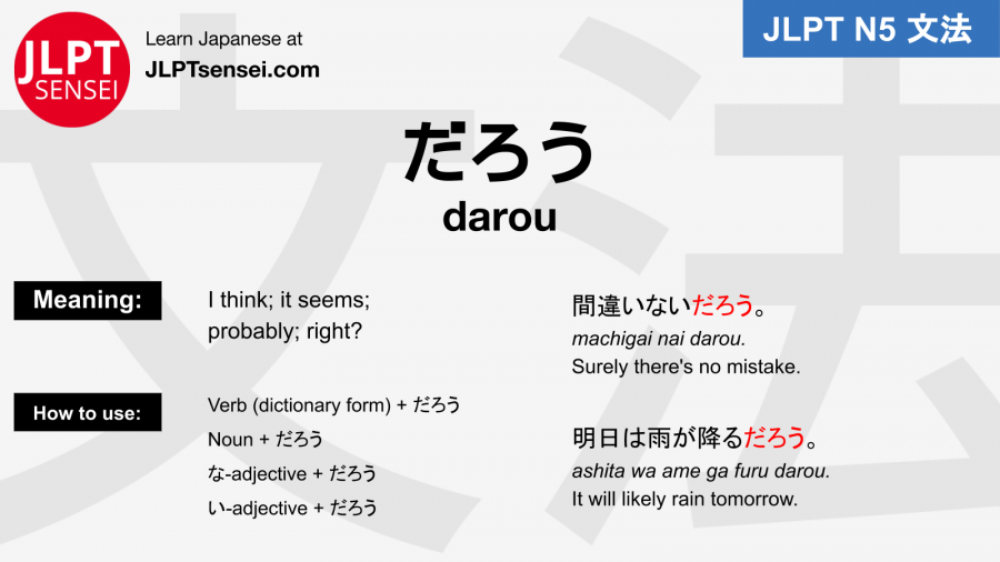 darou だろう jlpt n5 grammar meaning 文法例文 japanese flashcards