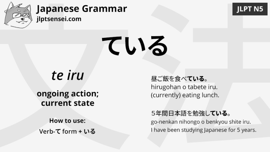 jlpt N5 grammar ている teiru flashcard meaning