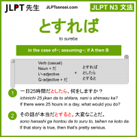 to sureba とすれば jlpt n3 grammar meaning 文法 例文 learn japanese flashcards
