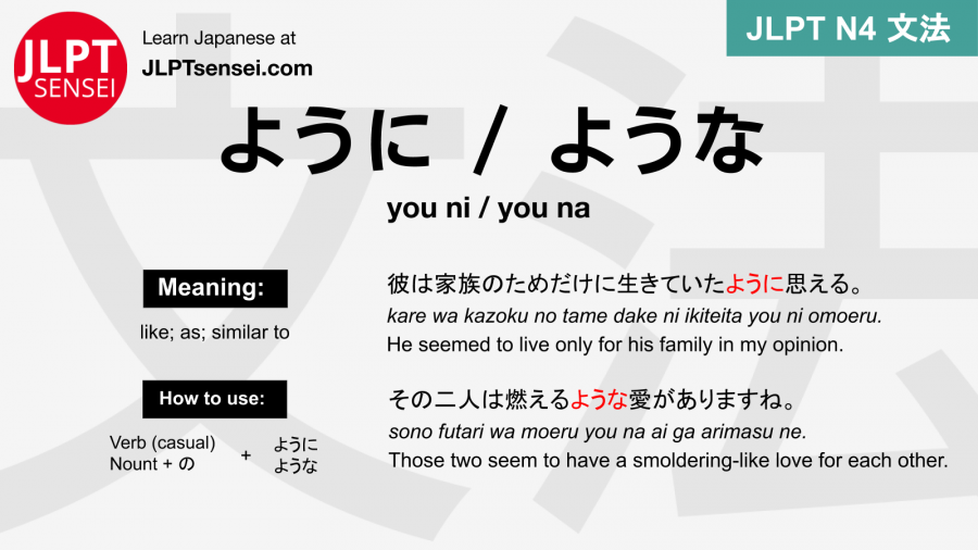 you ni you na ように ような ように ような jlpt n4 grammar meaning 文法 例文 japanese flashcards