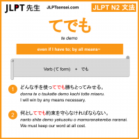 te demo てでも jlpt n2 grammar meaning 文法 例文 learn japanese flashcards