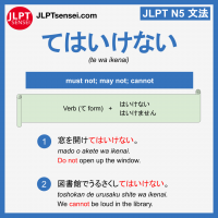 te wa ikenai てはいけない jlpt n5 grammar meaning 文法 例文 learn japanese flashcards