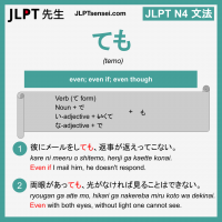 temo ても ても jlpt n4 grammar meaning 文法 例文 learn japanese flashcards