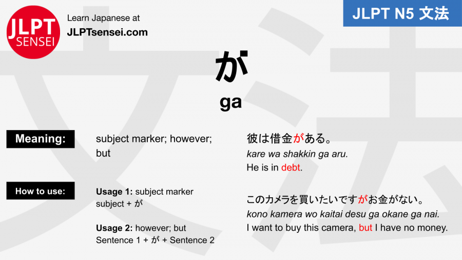 ga particle が jlpt n5 grammar meaning 文法例文 japanese flashcards