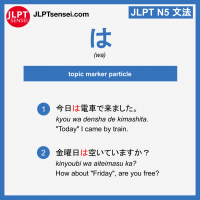 wa ha は topic marker particle jlpt n5 jlpt n5 grammar meaning 文法 例文 learn japanese flashcards