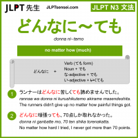 donna ni~temo どんなに~ても jlpt n3 grammar meaning 文法 例文 learn japanese flashcards