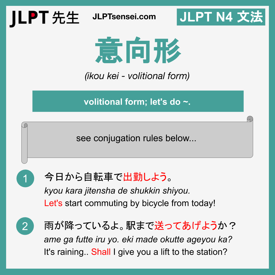 ikou kei 意向形 いこうけい jlpt n4 grammar meaning 文法 例文 learn ...