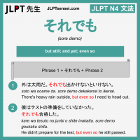 sore demo それでも それでも jlpt n4 grammar meaning 文法 例文 learn japanese flashcards