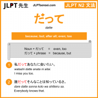 datte だって jlpt n2 grammar meaning 文法 例文 learn japanese flashcards