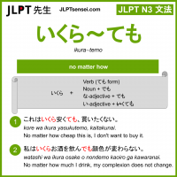 ikura~temo いくら~ても jlpt n3 grammar meaning 文法 例文 learn japanese flashcards