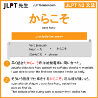 kara koso からこそ jlpt n2 grammar meaning 文法 例文 learn japanese flashcards
