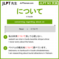 ni tsuite について jlpt n3 grammar meaning 文法 例文 learn japanese flashcards