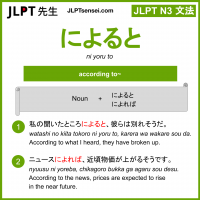 ni yoru to によると jlpt n3 grammar meaning 文法 例文 learn japanese flashcards