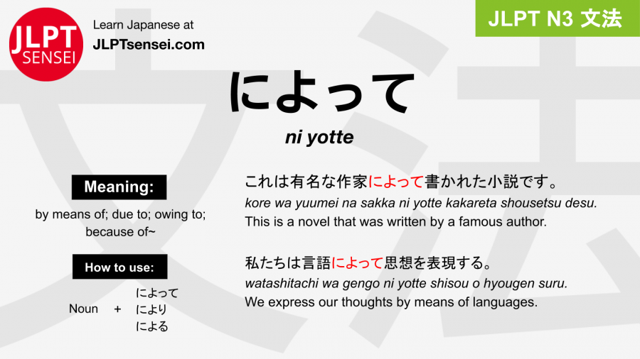 ni yotte によって jlpt n3 grammar meaning 文法 例文 japanese flashcards