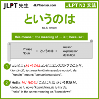 to iu nowa というのは jlpt n3 grammar meaning 文法 例文 learn japanese flashcards