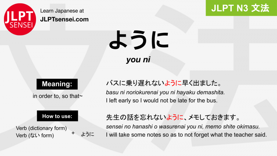 you ni ように jlpt n3 grammar meaning 文法 例文 japanese flashcards