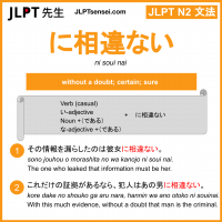 ni souinai に相違ない にそういない jlpt n2 grammar meaning 文法 例文 learn japanese flashcards