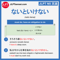 naito ikenai ないといけない jlpt n5 grammar meaning 文法例文 learn japanese flashcards