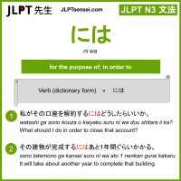 ni wa には jlpt n3 grammar meaning 文法 例文 learn japanese flashcards