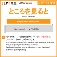 tokoro o miru to ところを見ると ところをみると jlpt n2 grammar meaning 文法 例文 learn japanese flashcards
