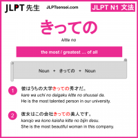kitte no きっての jlpt n1 grammar meaning 文法 例文 learn japanese flashcards